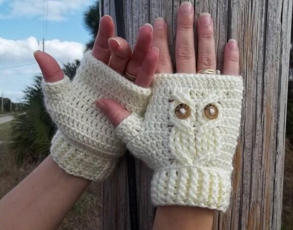 Its A Hoot Owl Texting Gloves A Fingerless Crochet Mitt Etsy