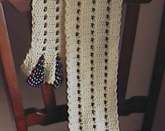 Neck Candy, a beaded scalloped edge scarf crochet pattern.  Instant Download