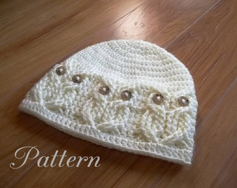 Crochet PATTERN-It's a Hoot -Owl Hat.  Adult, toddler/child, and baby size pattern.  Cute, fun and stylish, make one today.