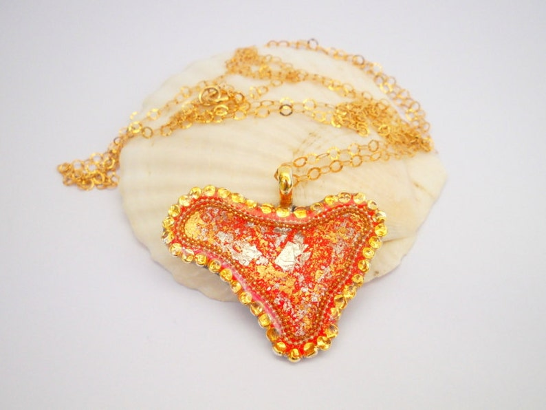 Sterling Silver Resin Necklace Boho Necklace Unique Gold Necklace Red Necklace Heart Necklace Unique Pendant Necklace Women