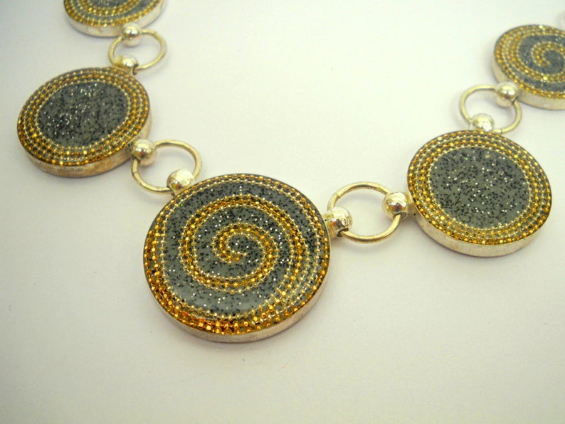 opulent necklace with golden spirals over grey circles necklace sterling silver necklace Statement Silver Necklace
