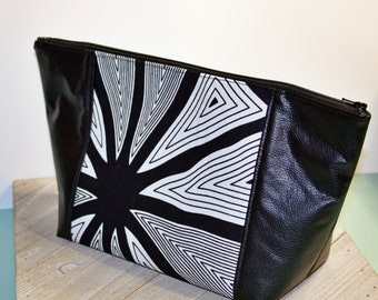 Beauty Bag/Make up Bag/Project Bag/Hair Bag/ Toiletry Bag/ Black and White Abstract Print