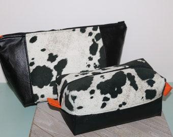 Holstein Pattern/ Pony / Beauty Bag/Make up Bag/Project Bag/Hair Bag/ Toiletry Bag/ Cow Print