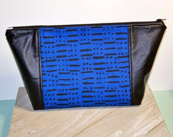 Beauty Bag / Make up Bag / Project Bag / Hair Bag/ Blue Abstract Print