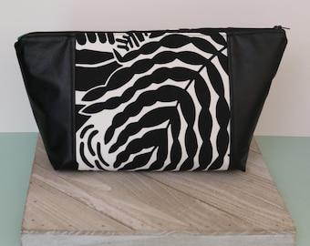 Beauty Bag/Make up Bag/Project Bag/Hair Bag/ Toiletry Bag/ Abstract Print/ Nature Leaves
