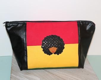 Curly Afro Girl Beauty Bag/Make up Bag/Project Bag/Hair Bag/ Toiletry Bag Natural Hair Care