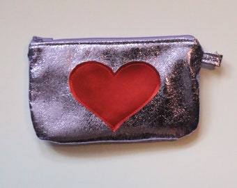 Heart Pouch Red /Silver/Lavender/ Pink/ Purple/ Gray/ Metallic, Coin Purse, Toiletry Bag, Teen, Pre-teen