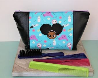 Kids Toiletry Bag/ Beauty Bag/ Project Bag/ Hair Bag/ Amigurumi Hair Supply