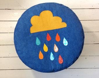 Large Denim Floor Pouf with Rain Cloud