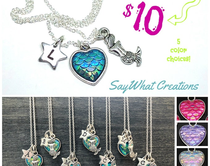 Mermaid Necklace SALE with 5 color choices and custom stamped star initial