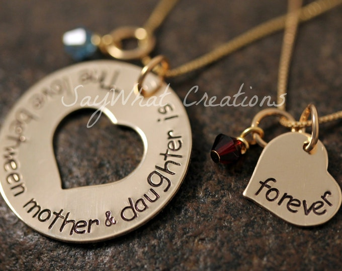Mother and Daughter Necklace Set The love between mother & daughter is forever Gold Filled Hand Stamped