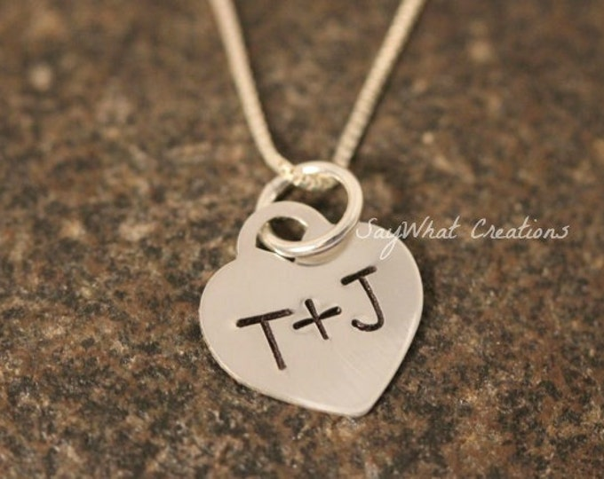 Custom Hand Stamped Sterling Silver Small Tiffany-Style Heart with Initials