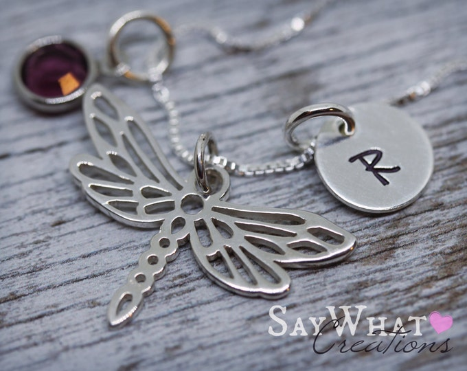 Sterling Silver Mini Initial Charm Necklace with Dragonfly Charm and birthstone