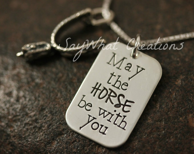"""Sterling Silver """"May the HORSE be with you"""" Western Spur Charm Necklace"""