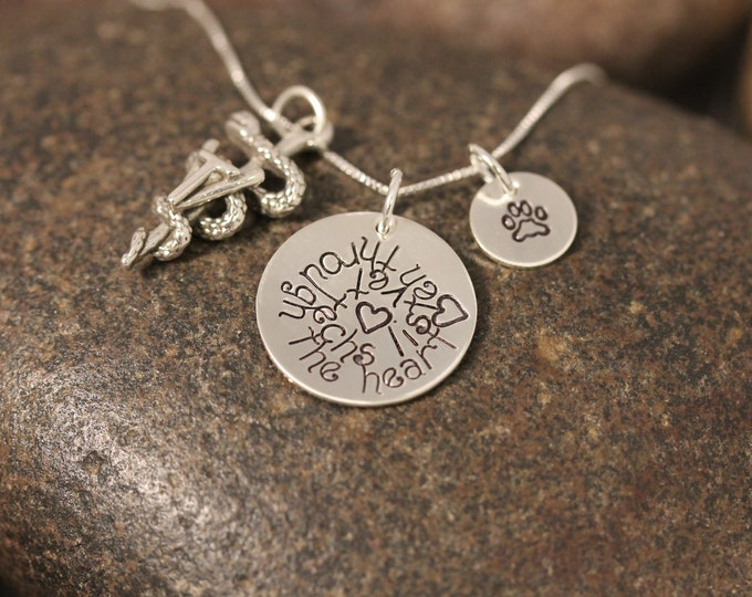 Custom Hand Stamped Sterling Silver Veterinary or Vet Tech Charm Necklace with Paw Print and Custom Stamped Disk