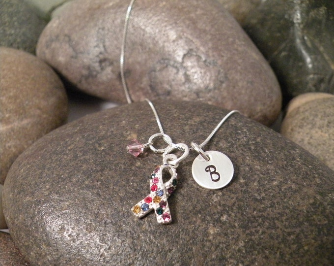 Sterling Silver Mini Initial Hand Stamped Autism Awareness Ribbon Charm Necklace