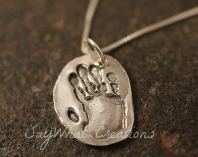 Your baby or child's ACTUAL hand prints made into silver pendants Includes one hand print charm