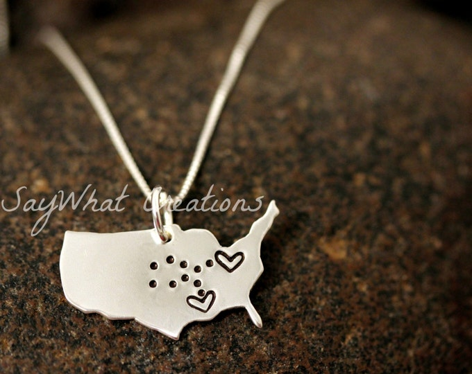 Sterling Silver Long Distance Relationship Necklace United States