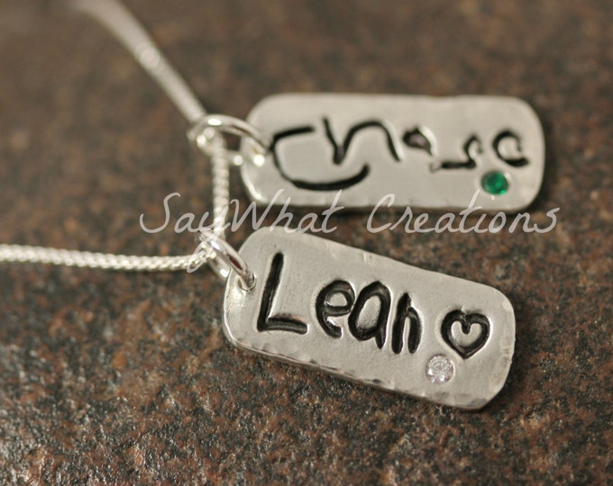 Your Child's Actual Handwriting Necklace with TWO solid silver tags with embedded birthstones