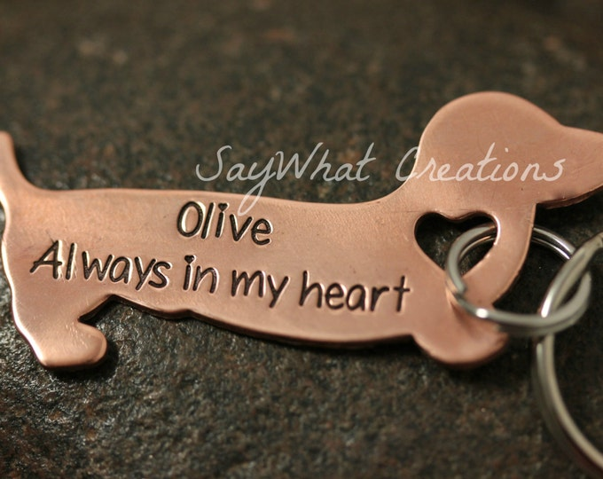 Adorable Dachshund Key Chain for Doxie Lover or Dog Remembrance Key Chain