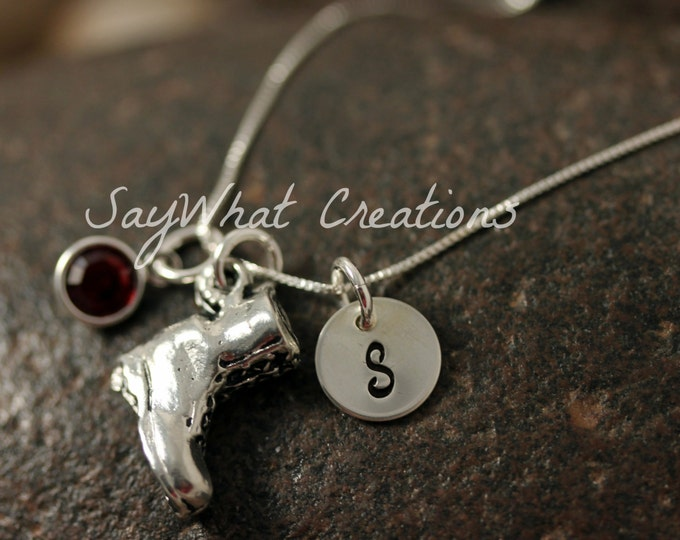Sterling Silver Mini Initial Hand Stamped Combat Boot Charm Necklace perfect for military wives or girlfriends