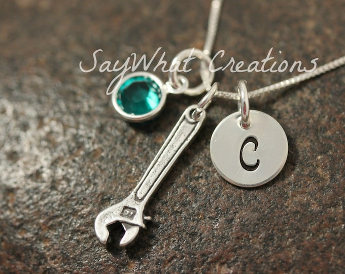 Hand Stamped Mini Initial Sterling Silver Wrench Charm Necklace