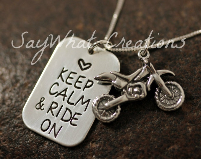 Keep Calm and Ride On Sterling Silver Dirtbike Necklace with Dirt Bike Motocross Charm