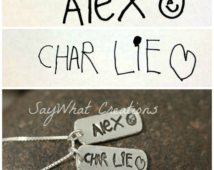 Your Child's Actual Handwriting Necklace with TWO solid silver tags
