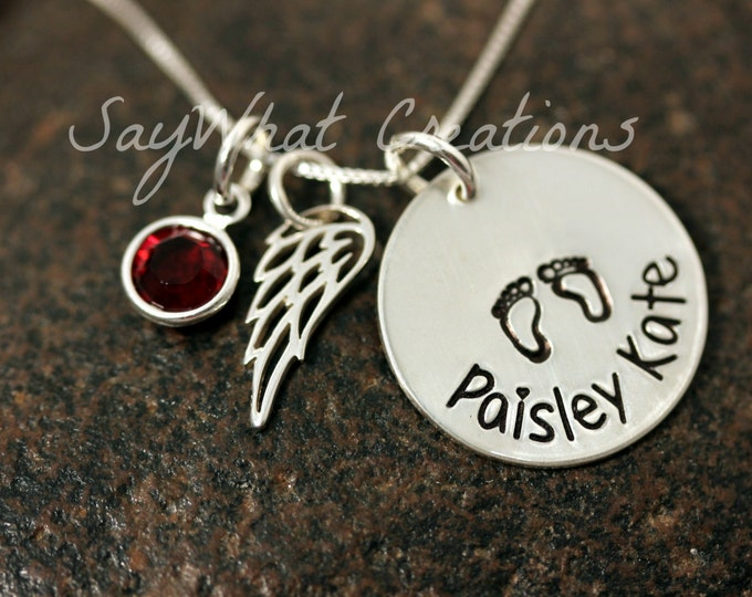 Custom Hand Stamped Sterling Silver Baby Remembrance Necklace