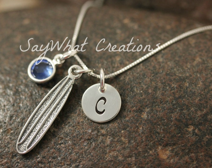 Hand Stamped Mini Initial Sterling Silver Surfboard Surfers Charm Necklace