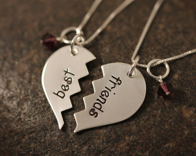 Custom Hand Stamped Sterling Silver Best Friends Broken Hearts Necklaces SET OF TWO