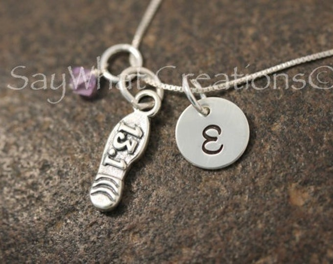 Sterling Silver Half Marathon Runner Charm Necklace with Mini Hand Stamped Initial and Birthstone and 13.1 Shoe Charm