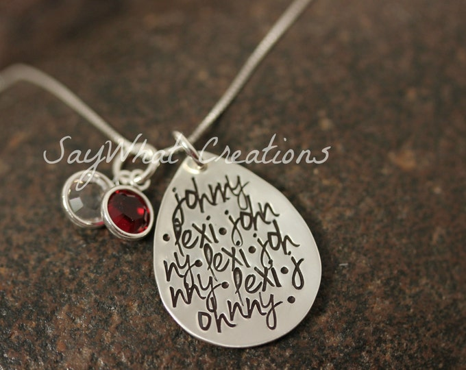Custom Hand Stamped Sterling Silver Repeating Names Mothers Grandmothers Necklace