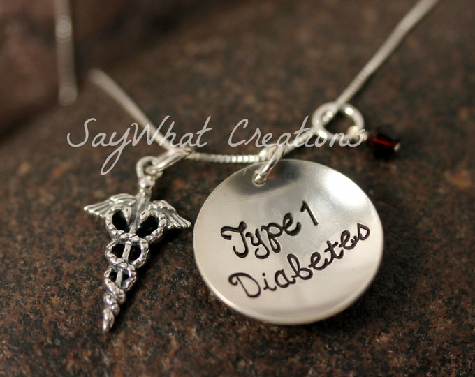 Medical Alert Necklace Custom Hand Stamped Sterling Silver Medical ID Charm Necklace