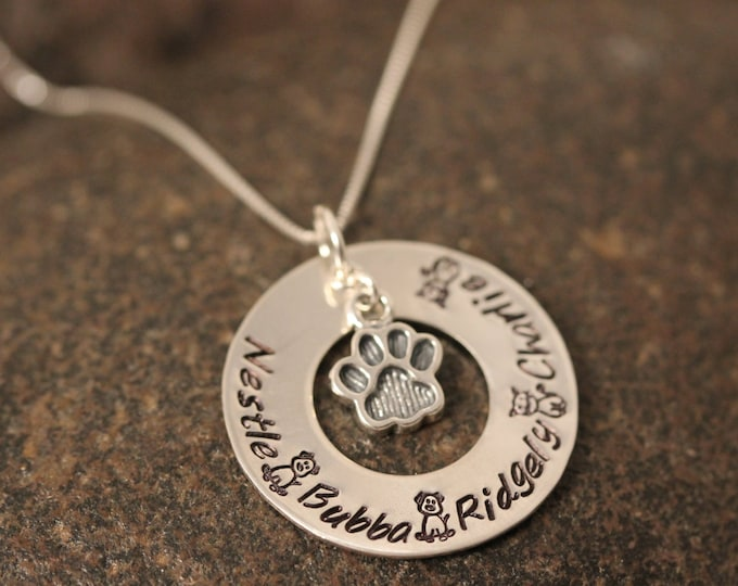 Dog and Cat Lovers Necklace Custom Hand Stamped Sterling Silver Washer Necklace with paw print charm