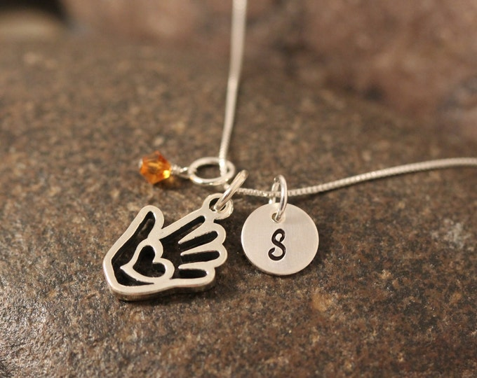 Sterling SIlver Mini Initial Hand Stamped Heart in Hand Charm Necklace