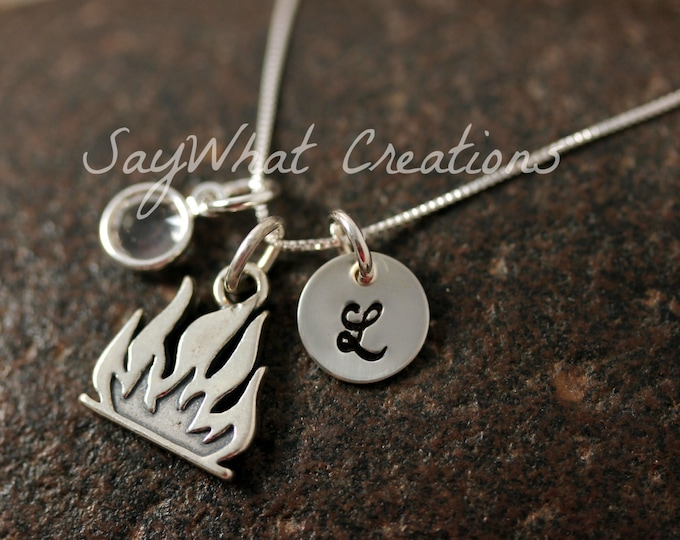 Sterling Silver Mini Initial Hand Stamped Fire Flame Charm Necklace