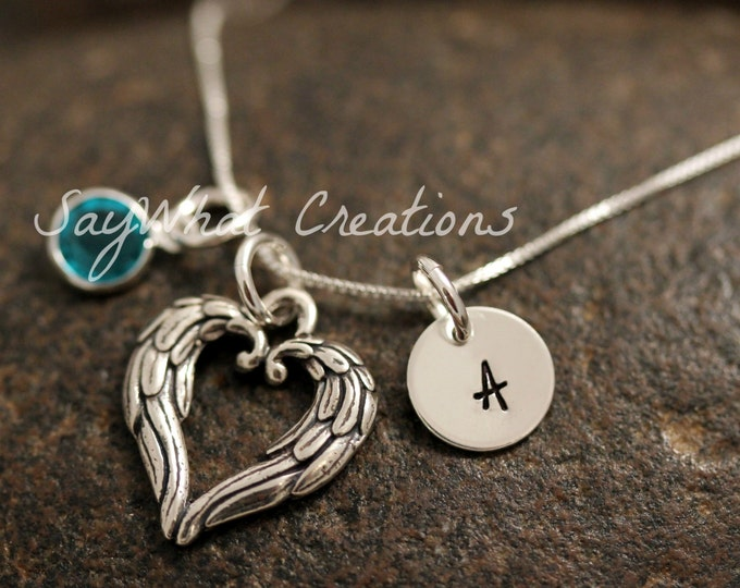 Sterling Silver Mini Initial Charm Necklace with Angel Wings Heart Charm and birthstone