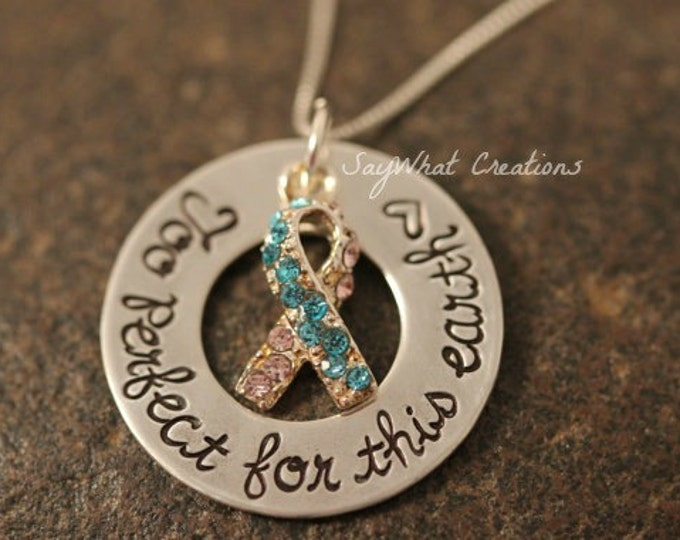 """Sterling Silver Pregnancy/Infant/Child Loss Necklace """"Too Perfect For This Earth"""" Mothers Necklace"""