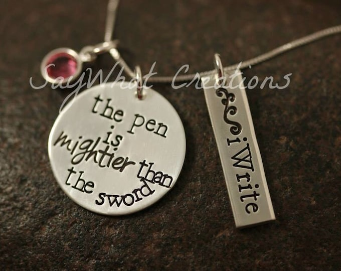 "Sterling silver Hand Stamped Writer's Necklace ""the pen is mightier than the sword"""
