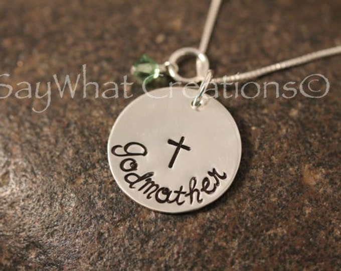 Godmother Necklace Custom Hand Stamped Sterling Silver