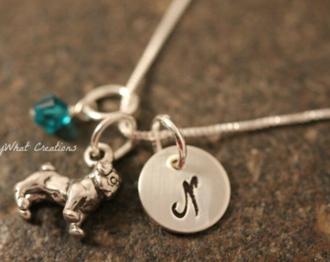 Sterling Silver Pug Charm Necklace with Mini Hand Stamped Initial and Birthstone