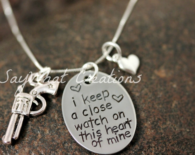 """Sterling Silver Hand Stamped """"I keep a close watch on this heart of mine"""" Necklace"""