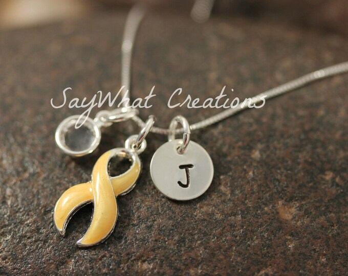 Awareness Ribbon Necklace YELLOW RIBBON Awareness with hand stamped sterling silver initial and birthstone necklace
