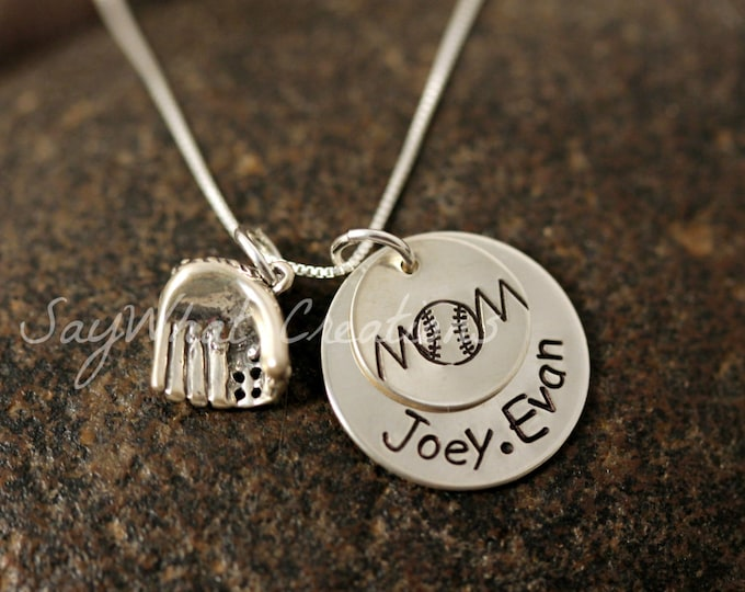 Sterling Silver Baseball MOM Stacked Necklace with names and sterling silver baseball glove charm
