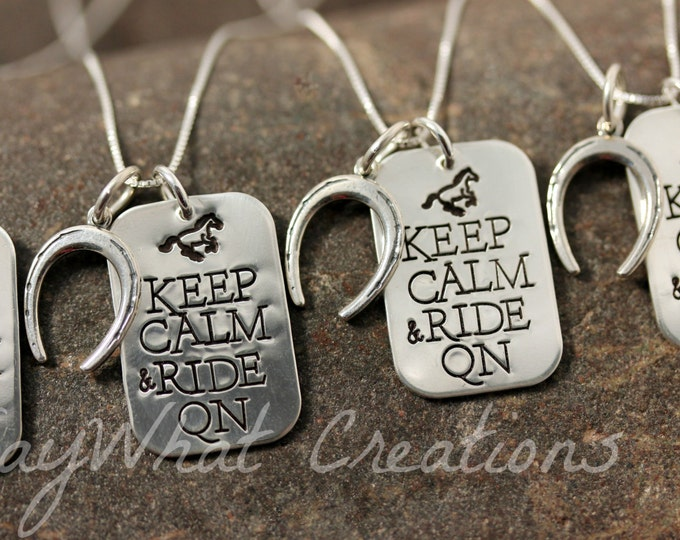 Keep Calm and Ride On Sterling Silver Quarter Horse Necklace and Horse shoe charm