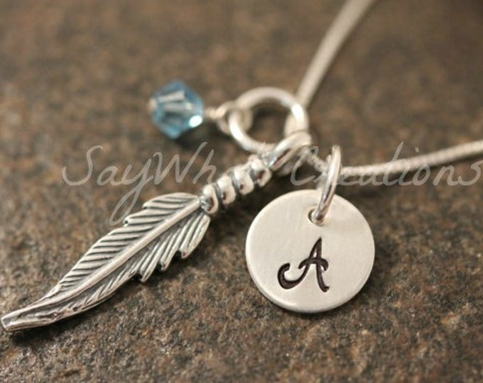 Sterling Silver Mini Initial Hand Stamped Feather Charm Necklace