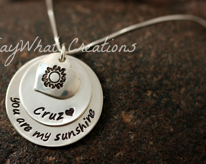 """Sterling Silver """"You are my sunshine"""" hand stamped necklace with personalized name and heart with sun Mothers Necklace"""