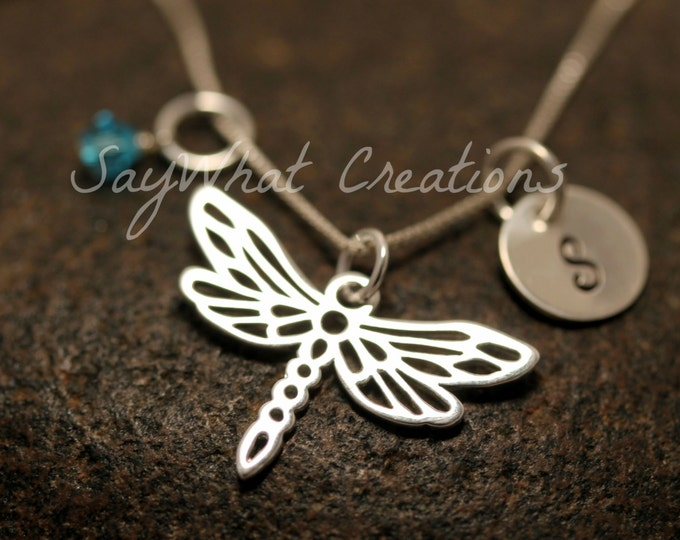 Hand Stamped Mini Initial Sterling Silver Dragonfly Charm Necklace