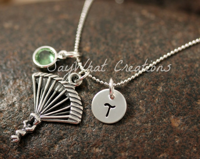 Sterling Silver Parachute Charm Necklace with Mini Hand Stamped Initial and Birthstone for Sky Diving or Parachuters